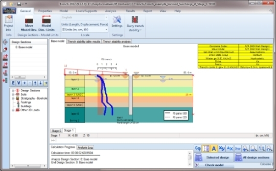 Trench2012 slurry supported trenches geotechnical software