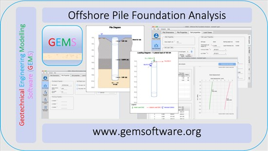 Screenshot of Offshore Pile Foundation Analysis Software by GEMS