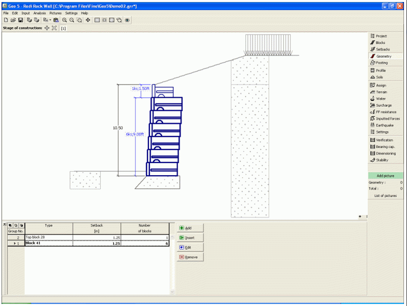 Redi Rock Wall GEO5 Geotechnical Design Software Earth